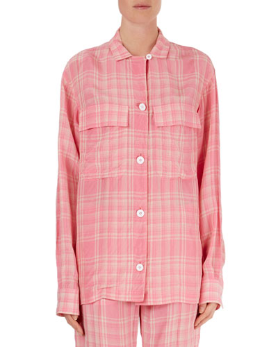 Plaid Oversized Flap-Pocket Blouse