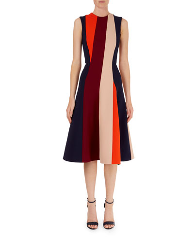 Colorblock-Stripe Fit-and-Flare Dress