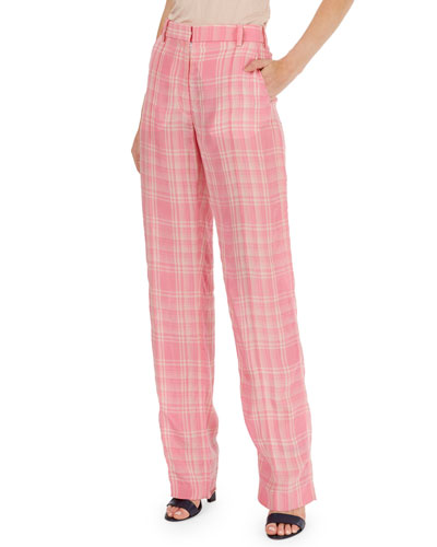 Plaid Flat-Front Straight-Leg Pants
