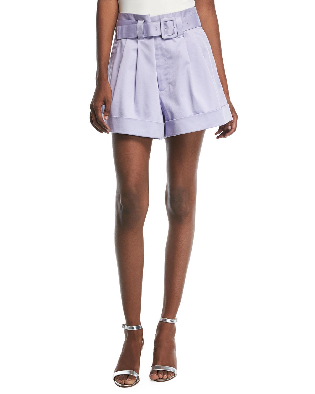 Belted High-Waist Shorts