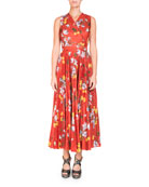 Noemi Sleeveless Wrap-Top Long Pleated Floral-Print Dress