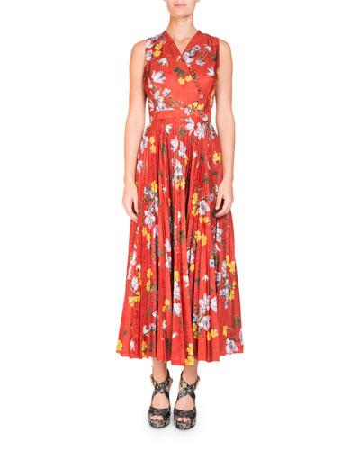 Noemi Sleeveless Wrap-Top Long Pleated Floral-Print Dress