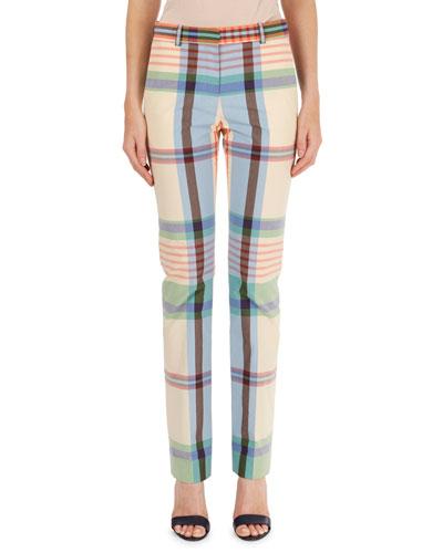 Madras Plaid Straight-Leg Pants