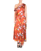 One-Shoulder Asymmetric Floral-Print Long Dress with Handkerchief Hem