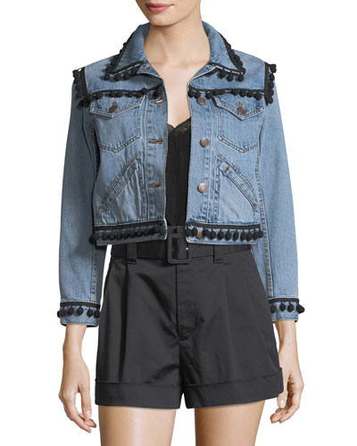 CROPPED POMPOM-EMBELLISHED DENIM JACKET