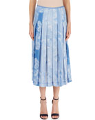 Pleated Cloud-Print Skirt