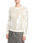 Paillette-Embellished Crewneck Sweater