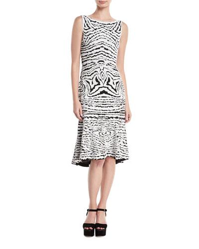 High-Neck Sleeveless Beaded-Stretch Wool Midi Dress