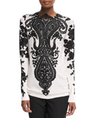 Long-Sleeve Embroidered-Lace Cashmere Sweater