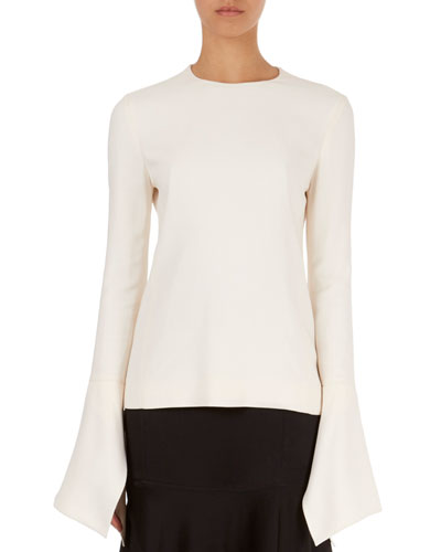 Flutter-Cuff Round-Neck Top