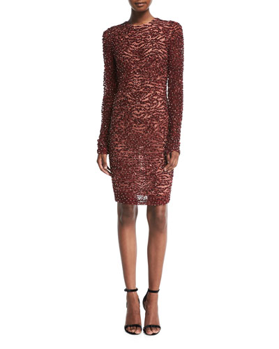 High-Neck Long-Sleeve Beaded Cocktail Dress