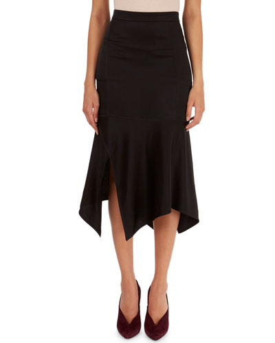 Fitted Handkerchief-Hem Skirt