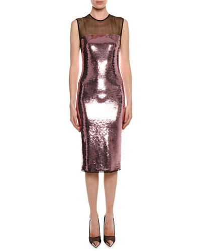 Sleeveless Liquid Sequin Cocktail Dress with Illusion