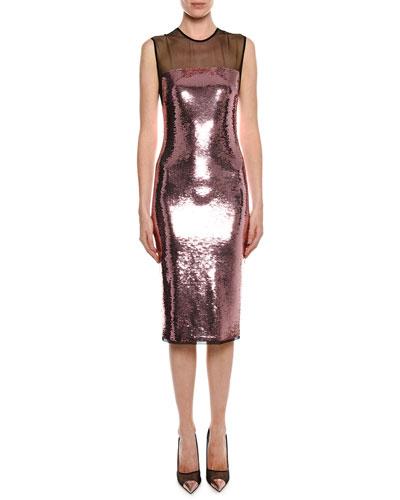 Sleeveless Liquid Sequin Cocktail Dress with Illusion