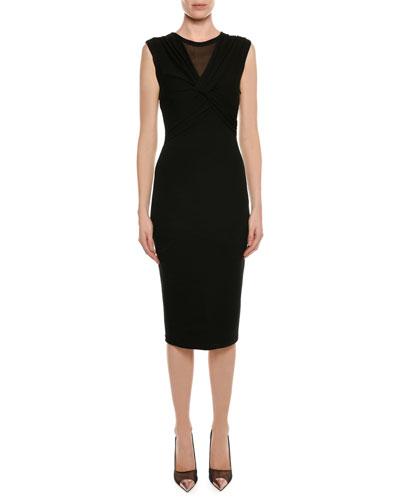 Sleeveless Knot-Front Sheath Midi Dress