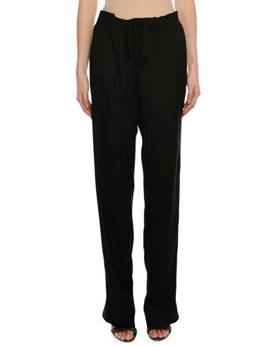 Drawstring Straight-Leg Pull-On Pants