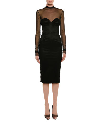 Leather-Trim Cocktail Dress with Tulle Overlay