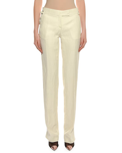 Straight-Leg Viscose-Linen Pants