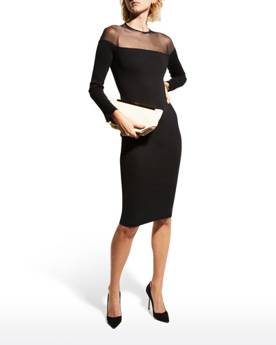 Round-Neck Illusion-Yoke Silk Knit Cocktail Dress