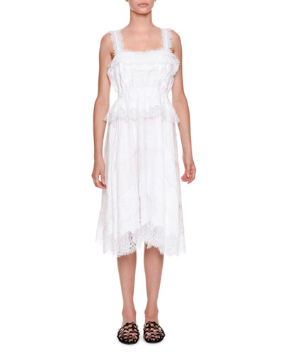 Sleeveless Lace Poplin Midi Dress