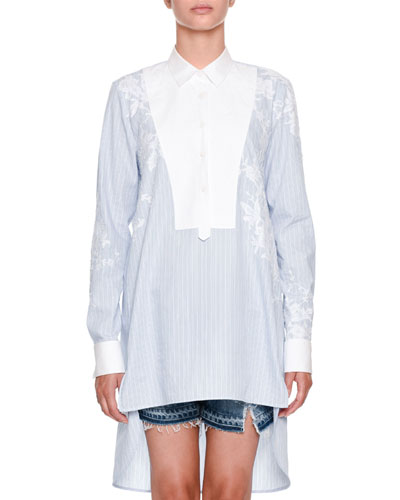 Long-Sleeve Button-Front Striped Tunic Shirt with Lace-Yolk