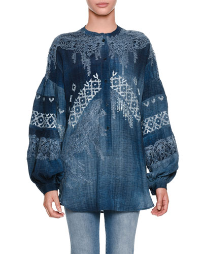 Blouson-Sleeve Oversized Chambray Blouse with Lace Inset