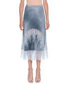 Plisse A-Line Chambray Midi Skirt