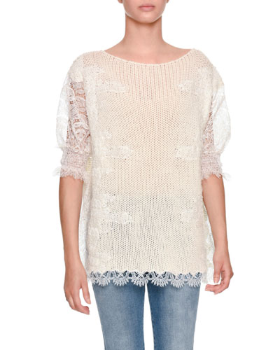 Half-Sleeve Light-Cashmere Sweater with Lace