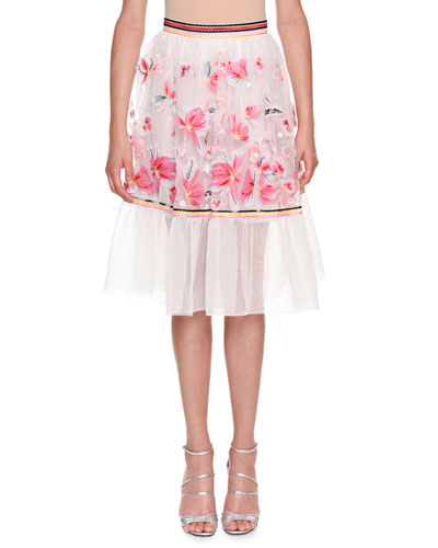 Floral-Embroidered Organza Skirt