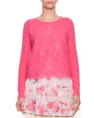 Crewneck Long-Sleeve Cable-Knit Cashmere Sweater with Lace