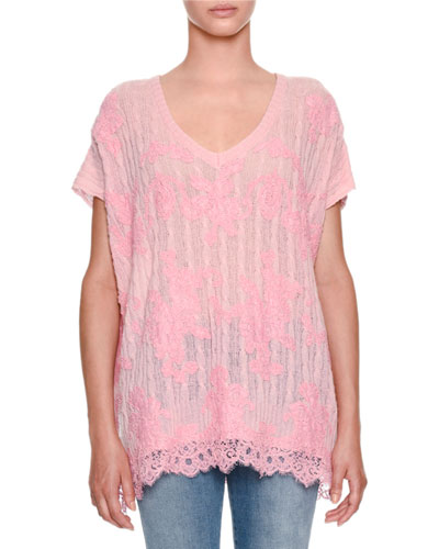 V-Neck Cap-Sleeve Cable-Knit Cashmere Sweater with Lace Detail