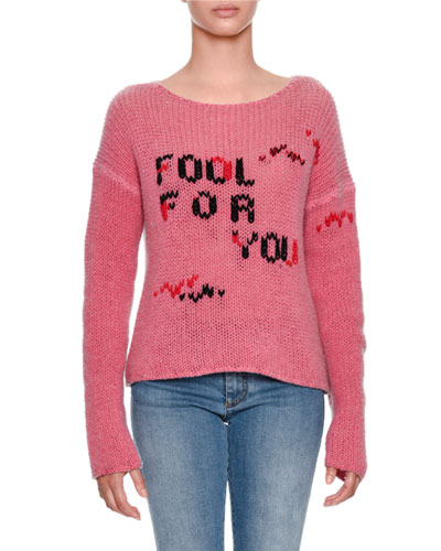 Fool For You Intarsia Long-Sleeve Cashmere Sweater