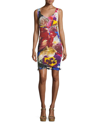 V-Neck Sleeveless Ruched Floral-Print Dress