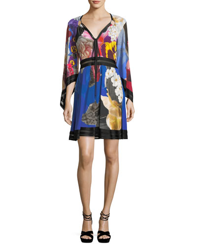 V-Neck Flutter-Sleeve Knit-Waist Floral-Printed Dress