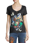 Scoop-Neck Butterfly-Print Cotton T-Shirt