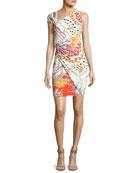 Asymmetric-Neck Printed Cocktail Dress