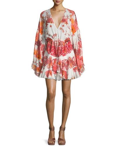 V-Neck Tiered Cotton-Poplin Printed Dress