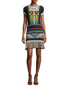 Short-Sleeve Butterfly-Print Mini Dress