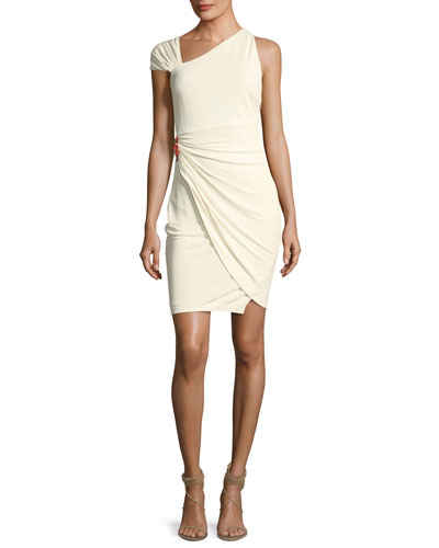 Asymmetric-Neck Fitted Cocktail Dress w/ Side Brooch