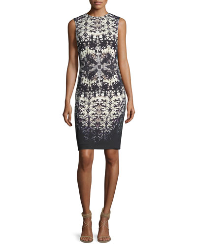 Abstract-Print Sleeveless Fitted Dress