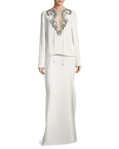 Cape-Sleeve Tie-Neck Beaded Kaftan Evening Gown