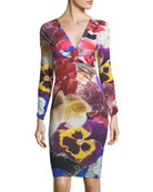 V-Neck Long-Sleeve Fitted Floral-Print Dress