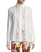 Long-Sleeve Button-Front Lace Inset Silk Blouse
