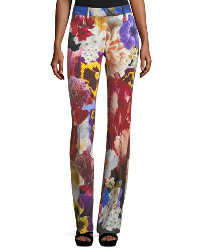 Floral-Print Mid-Rise Flared Pants