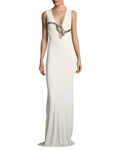 Sleeveless Plunging Beaded-Serpent Crepe Evening Gown