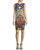 Sleeveless Butterfly-Print Fitted Cocktail Dress