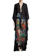 Butterfly-Print Chiffon Caftan Evening Gown w/ Ring Detail