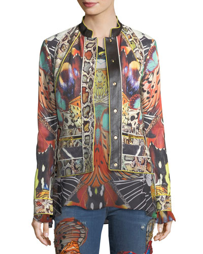 Butterfly-Print Button-Front Sheep Leather Jacket