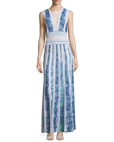 Sleeveless Intarsia Knit Evening Gown