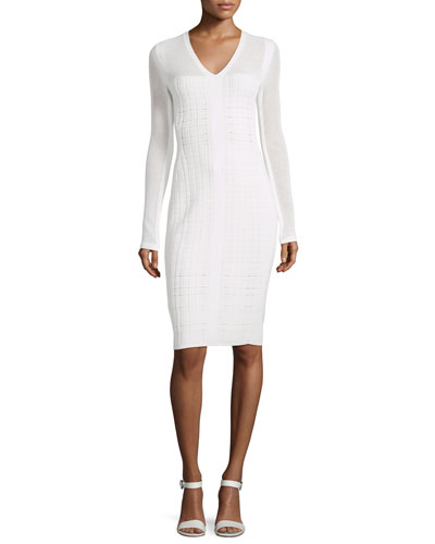 Long-Sleeve V-Neck Grid Dress
